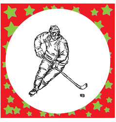 male hockey player hand drawn vector image
