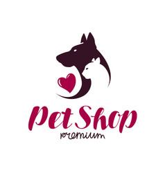pet shop or vet clinic logo animals cat dog vector image