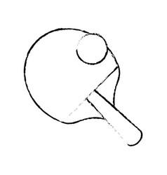 ping pong racket and ball image sketch vector image