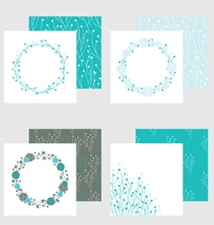set of four frames and seamless textures vector image vector image