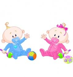sweet twins vector image vector image