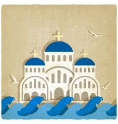 Greek Church near blue sea vector image