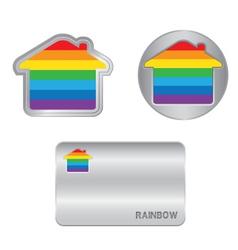 Home icon on the Rainbow flag vector image