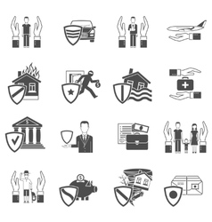 Insurance flat icon set vector image vector image