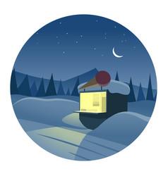 lonely ice cream shop round icon vector image