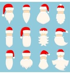 Set of twelve Santa s hats and beards vector image