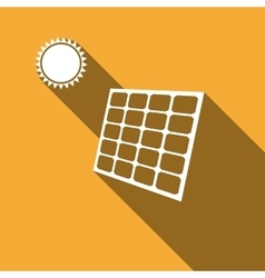 Solar energy panel icon with long shadow vector image vector image