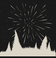 starfall on night sky in forest vector image vector image