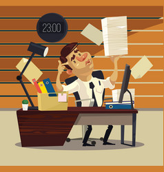 Unhappy tired office worker businessman vector