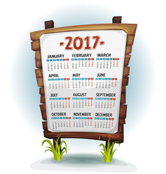 2017 calendar on wood sign vector