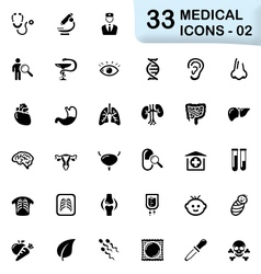 33 black medical icons 02 vector image