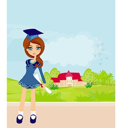 a Kid Holding Her Diploma vector image