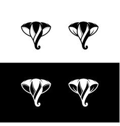 Abstract elephant head flat logo vector