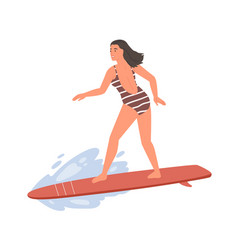 active female in swimsuit standing on surfboard vector image