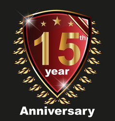 Anniversary 15 th label with ribbon vector