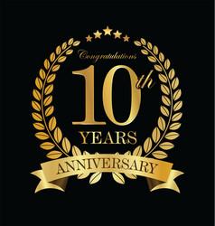 anniversary golden laurel wreath 10 years vector image
