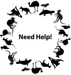 Australian fauna circular frame need help vector