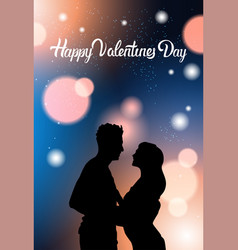 beautiful couple silhouette holding hands over vector image