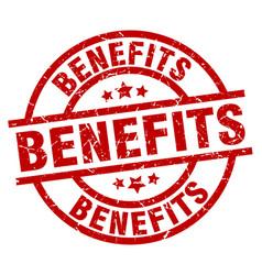 benefits round red grunge stamp vector image