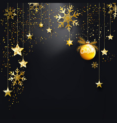 Black christmas background with gold glitter vector