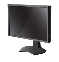 Black lcd tv monitor on white background vector