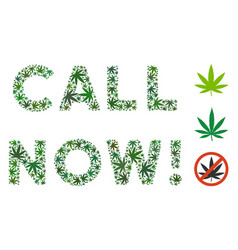 Call now text composition of hemp leaves vector