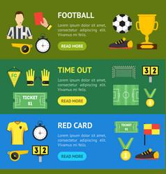 cartoon soccer sport game banner horizontal set vector image