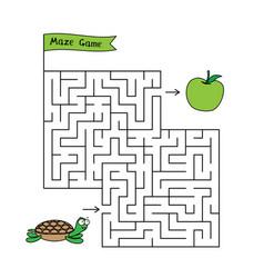 cartoon turtle maze game vector image