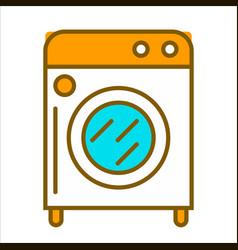 Cartoon white washing machine with orange top vector