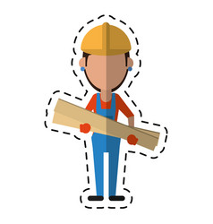 cartoon woman building construction wooden boards vector image