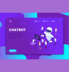 chatbot isometric concept bot chatting with vector image