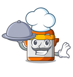 Chef with food electric rice cooker isolated on vector