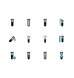 Chemical test tube duotone icons on white vector image