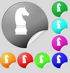 Chess knight icon sign Set of eight multi colored vector