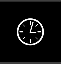 clock icon on black background black flat style vector image