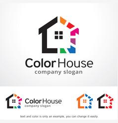 Color house logo template design vector
