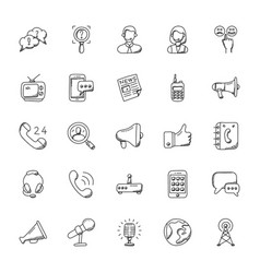 communication doodle icons set vector image