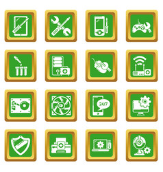 computer repair service icons set green square vector image