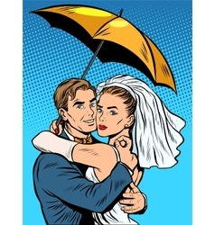 Couple in love bride and groom under an umbrella vector