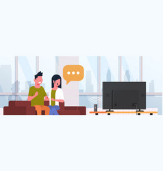 couple watching tv man woman sitting on couch vector image