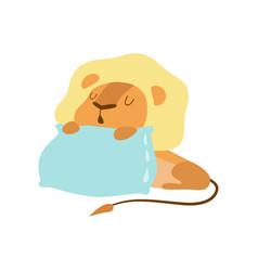 Cute baby lion animal sleeping on pillow vector