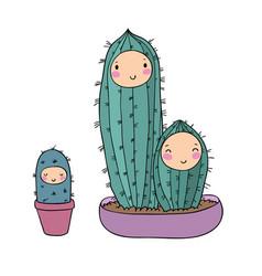 Cute cartoon cactus plant in pot vector