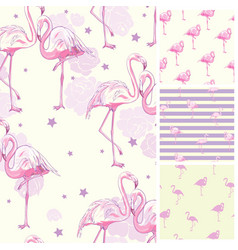 Cute set of pink flamingo tropical vibes seamless vector