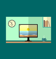 desktop computer with books on the shelf and the vector image