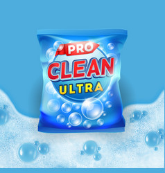 detergent design on bag package with vector image