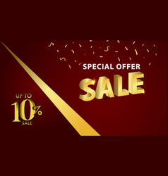 Discount up to 10 special offer gold banner vector