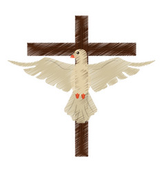 Drawing holy spirit cross vector