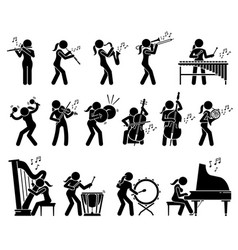 Female musician playing music with musical vector