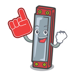 Foam finger harmonica mascot cartoon style vector