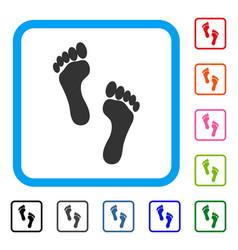 footprints framed icon vector image